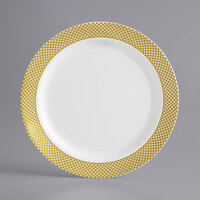 Gold Visions 7 inch Bone / Ivory Plastic Plate with Gold Lattice Design - 15/Pack