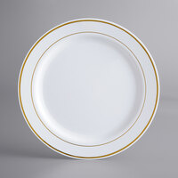 Gold Visions 10 inch White Plastic Plate with Gold Bands - 12/Pack