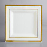 Gold Visions 8 inch Square Bone / Ivory Plastic Plate with Gold Bands - 10/Pack