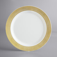 Gold Visions 10 inch Bone / Ivory Plastic Plate with Gold Lattice Design - 12/Pack