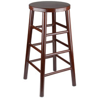 Lancaster Table & Seating Spartan Series 30 inch Metal Woodgrain Barstool with Dark Brown Finish