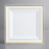 Gold Visions 10 inch Square White Plastic Plate with Gold Bands   - 12/Pack