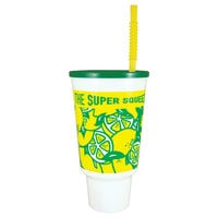 44 oz. Lemonade Economy Car Cup with Green Lid and Straw - 210/Case