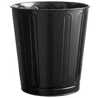 Rubbermaid FGWB26BK 26 Qt. / 6.5 Gallon Black Round Steel Fire-Resistant Wastebasket / Trash Can