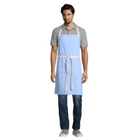 Uncommon Threads 3115 Sky Blue Customizable 100% Cotton Canvas Vibe Bib Apron with Natural Webbing and 3 Pockets - 34 inchL x 36 inchW