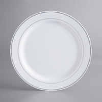 Silver Visions 10 inch White Plastic Plate with Silver Bands - 12/Pack