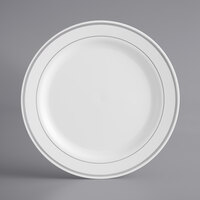 Silver Visions 9 inch White Plastic Plate with Silver Bands - 12/Pack