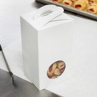 1-Piece 1 lb. Circular Window Candy Box White 3 1/2 inch x 3 inch x 6 3/8 inch   - 250/Case