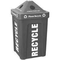 Gray Stacking Pyramid Lid Recycle Bin - 48 Gallon