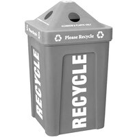 Gray Stacking Pyramid Lid Recycle Bin - 48 Gallon