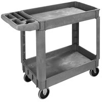 Carlisle UC401823 Gray Small Bin Top 2-Shelf Utility Cart- 40 inch x 17 1/4 inch x 33 1/2 inch