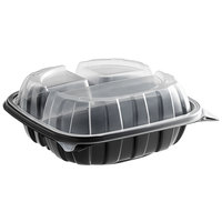 8 inch x 8 inch x 3 inch Microwaveable 3-Compartment (15 / 6 / 6 oz.) Plastic Hinged Container   - 138/Case