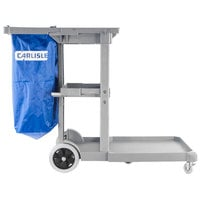 Carlisle JC1945L23 Gray 3-Shelf Janitorial Cart with Nylon Bag