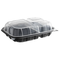 11 inch x 8 1/2 inch x 3 inch Microwaveable 3-Compartment (28 / 8 / 8 oz.) Plastic Hinged Container   - 116/Case