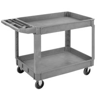 Carlisle UC452523 Gray Large Bin Top 2-Shelf Utility Cart- 45 inch x 25 inch x 33 inch