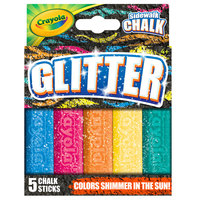 Crayola 35804 4 inch 5 Assorted Color Glitter Washable Sidewalk Chalk