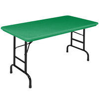 Correll Folding Table, 24 inch x 48 inch Plastic Adjustable Height, Green - R-Series RA2448