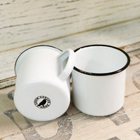 Crow Canyon Home V11BLA Vintage 12 oz. White Enamelware Mug with Black Rolled Rim