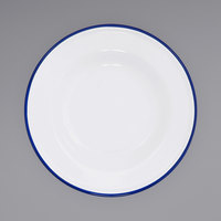 Crow Canyon Home V19BLU Vintage 8 inch White Wide Rim Enamelware Footed Plate with Blue Rolled Rim
