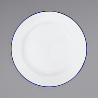 Crow Canyon Home V20BLU Vintage 10 1/4 inch White Wide Rim Enamelware Footed Plate with Blue Rolled Rim