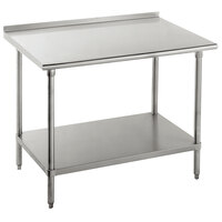 Advance Tabco FLG-304 30 inch x 48 inch 14 Gauge Stainless Steel Commercial Work Table with Undershelf and 1 1/2 inch Backsplash