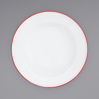 Crow Canyon Home V19RED Vintage 8 inch White Wide Rim Enamelware Footed Plate with Red Rolled Rim