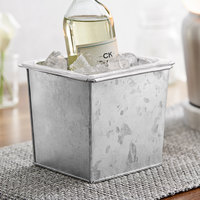American Metalcraft 1/6 Size Silver Galvanized Metal Beverage Tub with Polycarbonate Liner