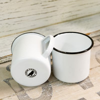 Crow Canyon Home V112BLA Vintage 16 oz. White Enamelware Mug with Black Rolled Rim
