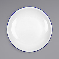 Crow Canyon Home V123BLU Vintage 8 inch White Coupe Enamelware Plate with Blue Rolled Rim