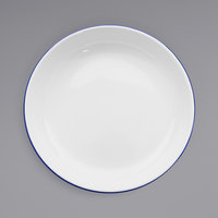 Crow Canyon Home V114BLU Vintage 10 1/2 inch White Round Enamelware Deep Coupe Pasta Plate with Blue Rolled Rim