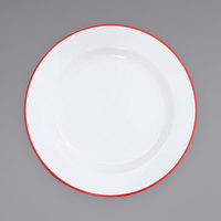Crow Canyon Home V20RED Vintage 10 1/4 inch White Wide Rim Enamelware Footed Plate with Red Rolled Rim