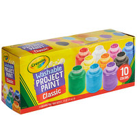 Crayola 541205 10 Assorted Color 2 oz. Washable Project Paint