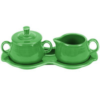Homer Laughlin 821324 Fiesta Shamrock China Sugar and Creamer Tray Set - 4/Case