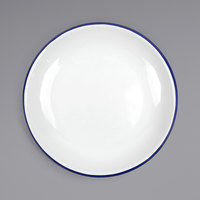 Crow Canyon Home V124BLU Vintage 10 1/2 inch White Coupe Enamelware Plate with Blue Rolled Rim