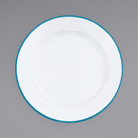 Crow Canyon Home V99TUR Vintage 8 inch White Wide Rim Enamelware Plate with Turquoise Rolled Rim