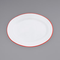 Crow Canyon Home V94RED Vintage 11 7/8 inch x 8 11/16 inch White Enamelware Oval Plate with Red Rolled Rim