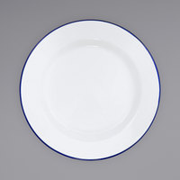 Crow Canyon Home V95BLU Vintage 12 inch White Wide Rim Enamelware Plate with Blue Rolled Rim