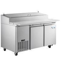 Avantco SSPPT-260 60 inch 2 Door Refrigerated Pizza Prep Table