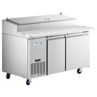 "Avantco SSPPT-260 60"" 2 Door Refrigerated Pizza Prep Table"