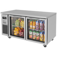 Turbo Air JUR-60-G J Series 60 inch Glass Door Undercounter Refrigerator with Side Mounted Compressor