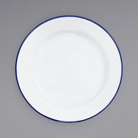 Crow Canyon Home V99BLU Vintage 8 inch White Wide Rim Enamelware Plate with Blue Rolled Rim