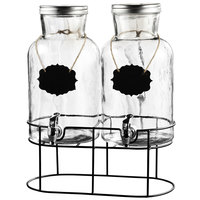 The Jay Companies 210439-GB Double 1.25 Gallon Style Setter Sierra Glass Beverage Dispenser with Hanging Blackboard Labels and Metal Stand