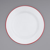 Crow Canyon Home V95RED Vintage 12 inch White Wide Rim Enamelware Plate with Red Rolled Rim