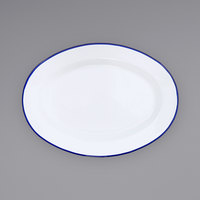 Crow Canyon Home V94BLU Vintage 11 7/8 inch x 8 11/16 inch White Enamelware Oval Plate with Blue Rolled Rim