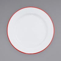Crow Canyon Home V99RED Vintage 8 inch White Wide Rim Enamelware Plate with Red Rolled Rim