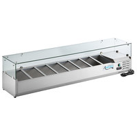 Avantco CPT-71 71 inch Countertop Refrigerated Prep Rail with Sneeze Guard