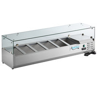 Avantco CPT-60 59 inch Countertop Refrigerated Prep Rail with Sneeze Guard
