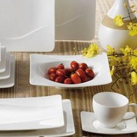CAC MDN-3 Modern 9 inch New Bone White Square Porcelain Soup Bowl / Plate - 24 / Case