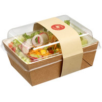 Solia ES32385 Small 16.9 oz. Kraft Salad Container with Clear Plastic Lid - 400/Case