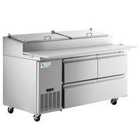 Avantco SSPPT-2C 67 inch 4 Drawer Refrigerated Pizza Prep Table